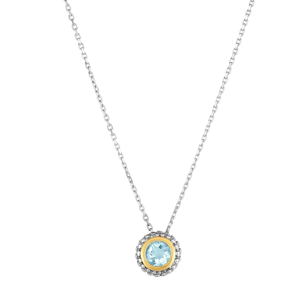 picture of bezel set amanda necklace blu silver