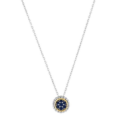 18K Yellow Gold and Sterling Silver Blue Sapphire Slide Pendant - September Birthstone
