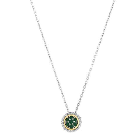 18K Yellow Gold and Sterling Silver Emerald Slide Pendant May Birthstone