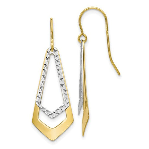 10K Two-Tone Diamond Cut Dangle Earrings