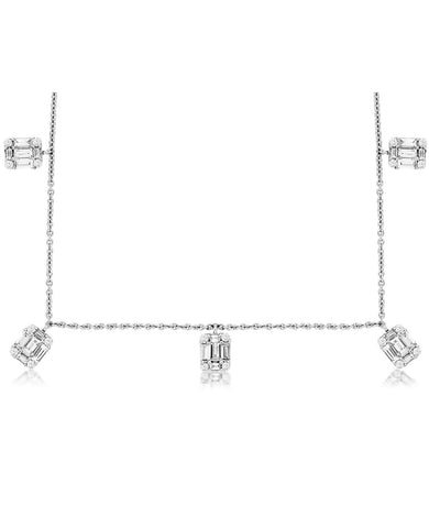14K White Gold Baguette Diamond Station Necklace