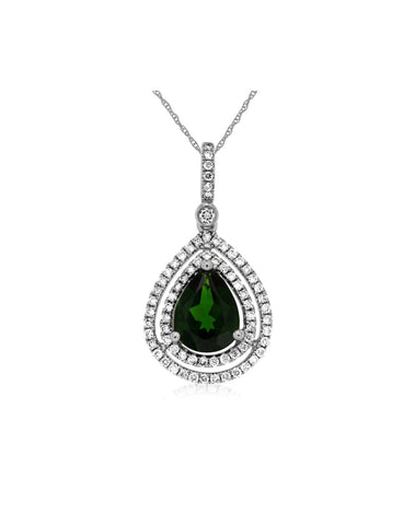 White Gold Russalite and Diamond Double Halo Pendant