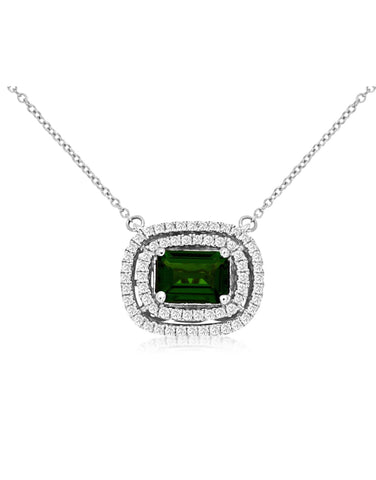 White Gold Russalite and Diamond Necklace