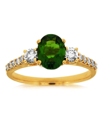 Yellow Gold Russalite and Diamond Ring