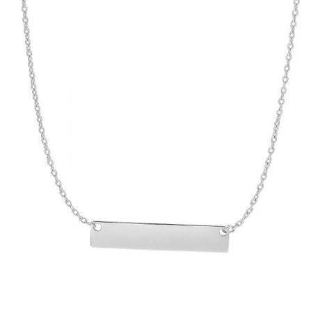 14K White Gold High Polished Bar Necklace