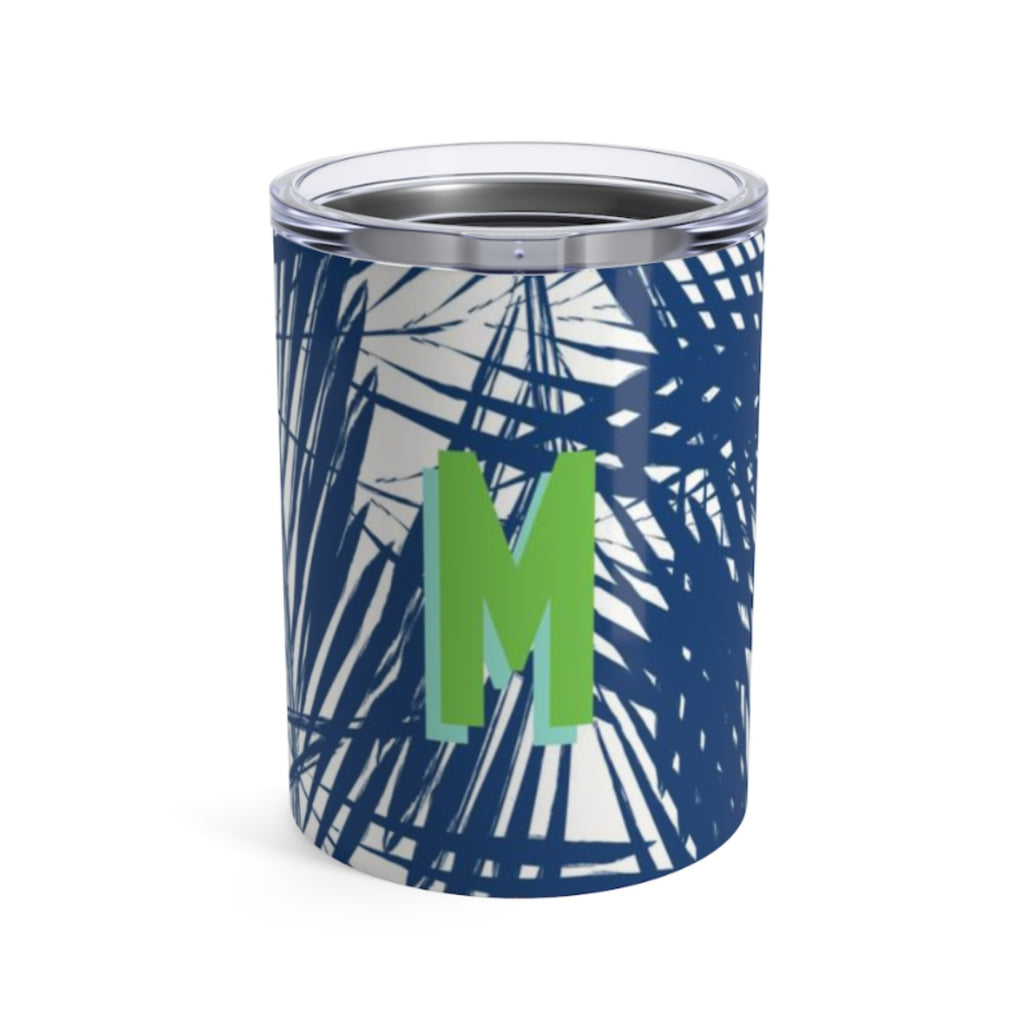 Small Palm Leaves Navy Tumbler