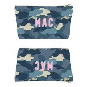 Camo Blue Large Zippered Pouch