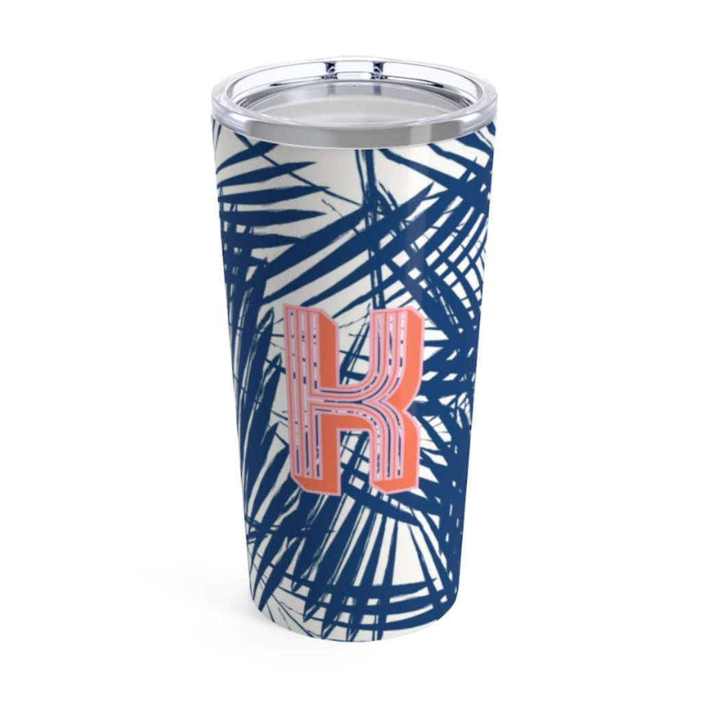 Large Palm Leaves Navy Tumbler