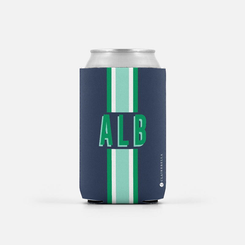 Stripe Navy Can Cooler