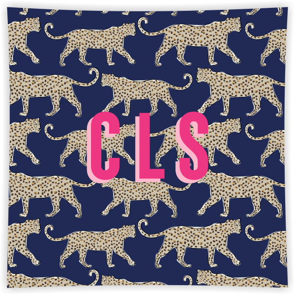 Leopard Navy Square Glass Tray