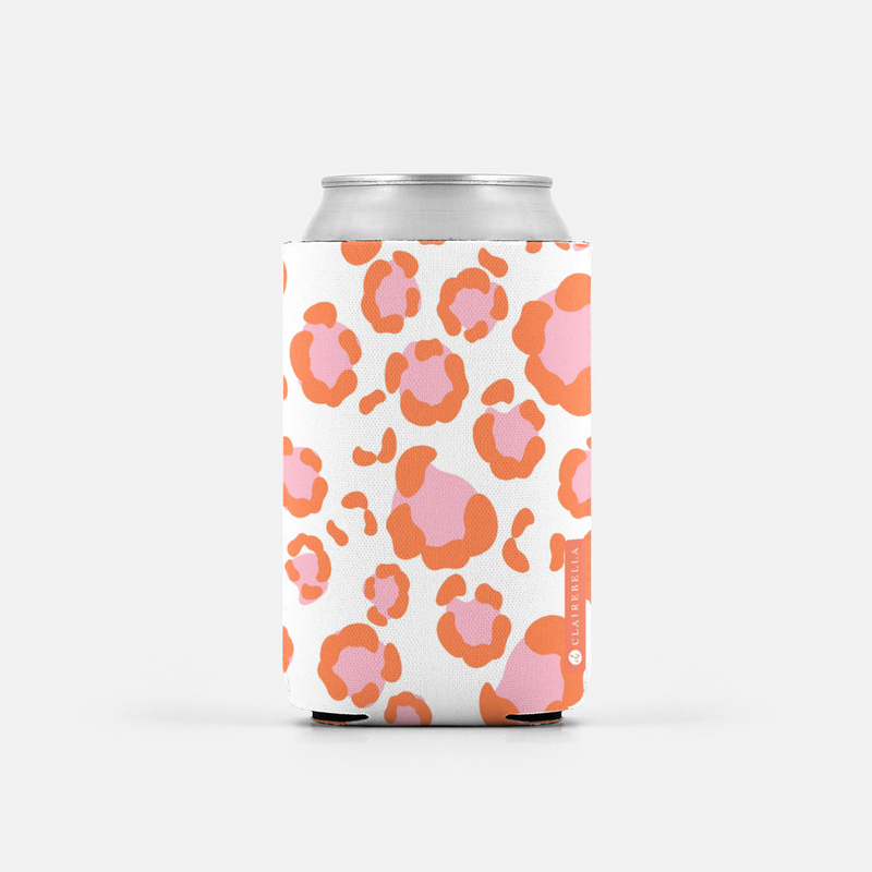 Leopard Spots Pink Can Cooler