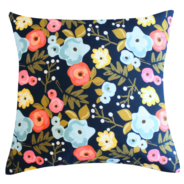 Bloom Navy Pillow by Clairebella