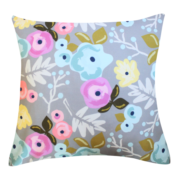 Bloom Gray Pillow by Clairebella