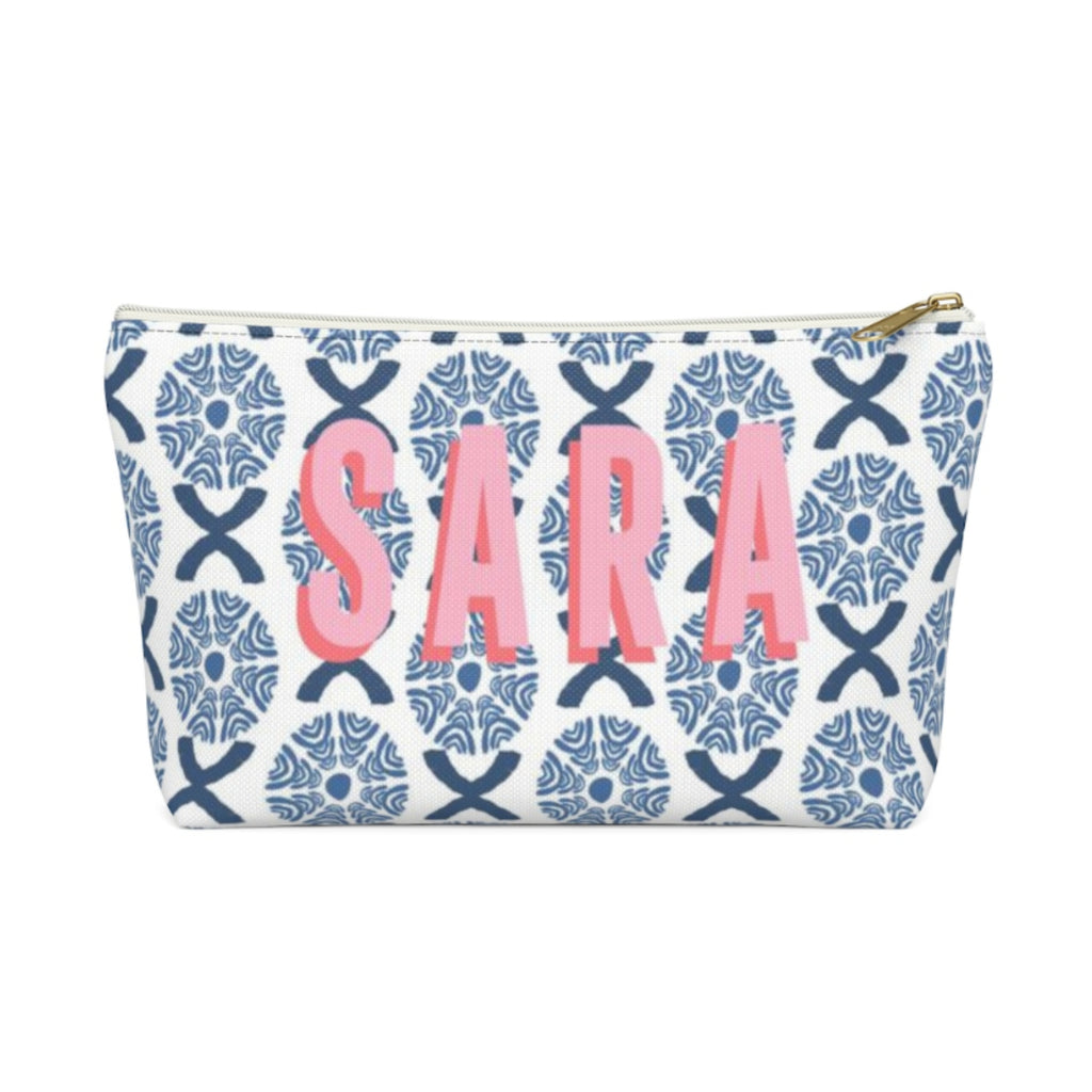 Camille Blue Large Zippered Pouch