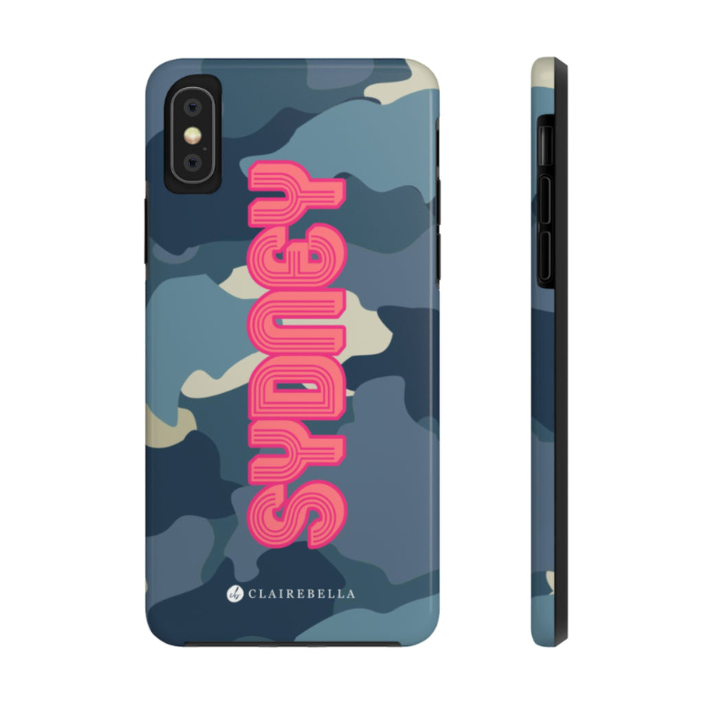 iPhone Tough Case XR Camo Blue