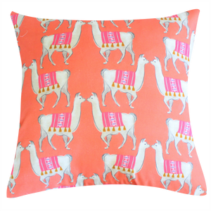 Llama Coral Pillow by Clairebella Cover