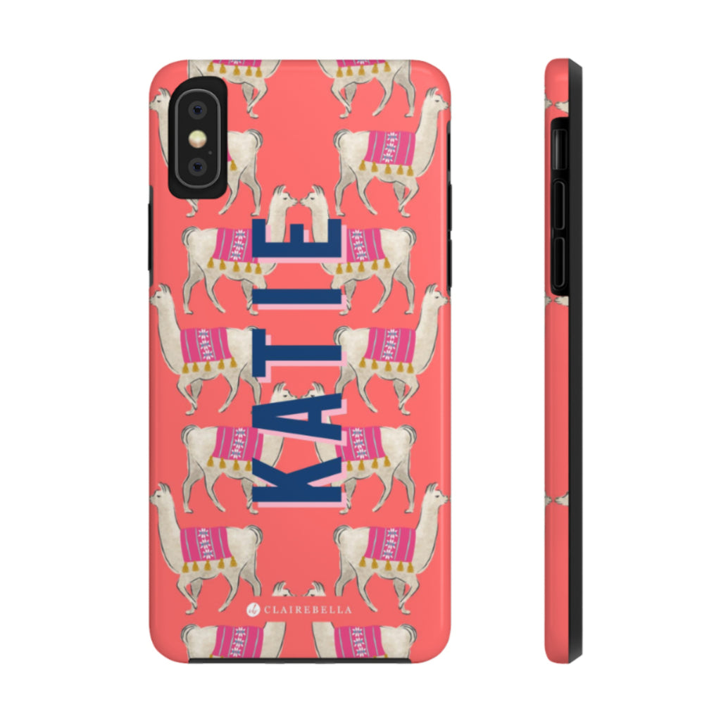 iPhone Tough Case XR Llama Coral