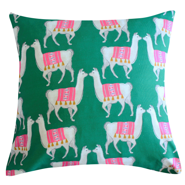 Llama Green Pillow by Clairebella