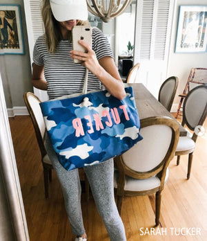 Camo Blue Travel Tote