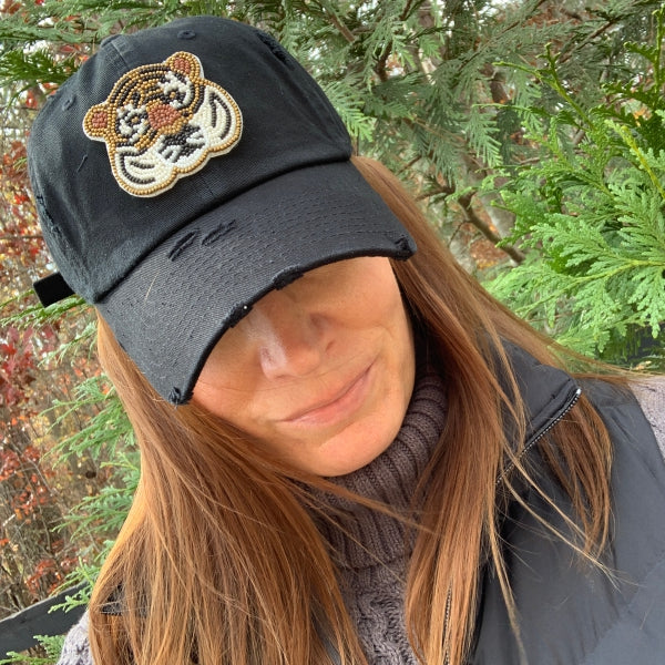 Tiger Face Beaded Ball Cap