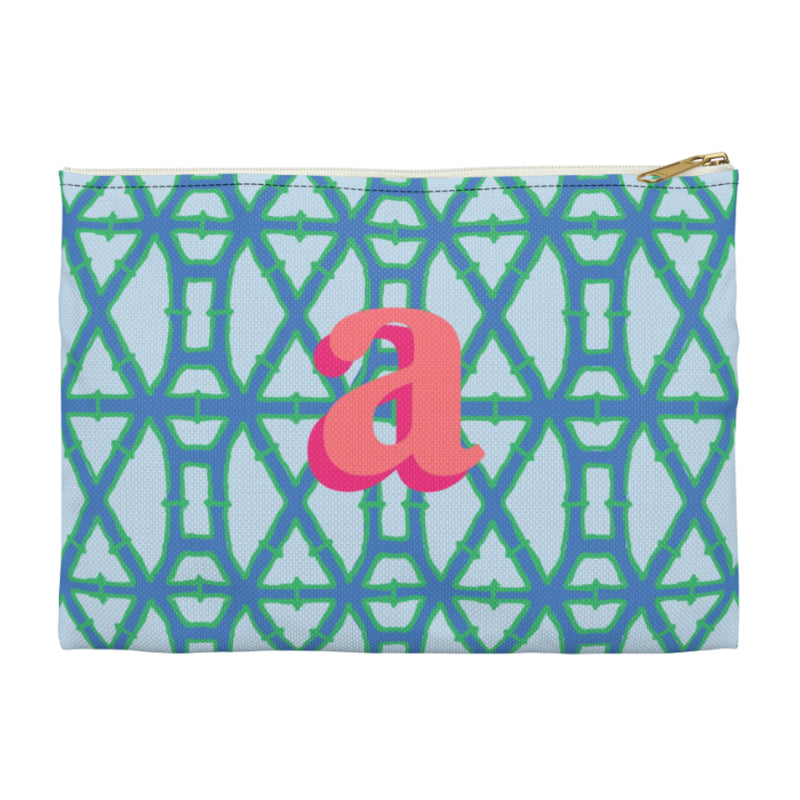 Bamboo Blue Large Zippered Clutch