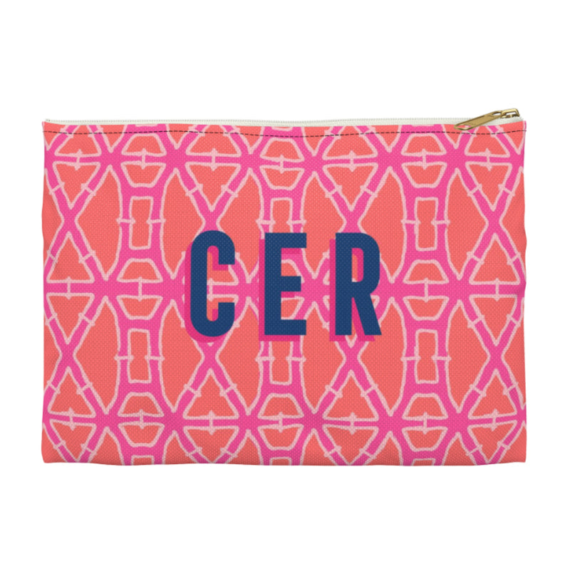 Bamboo Pink Large Zippered Clutch