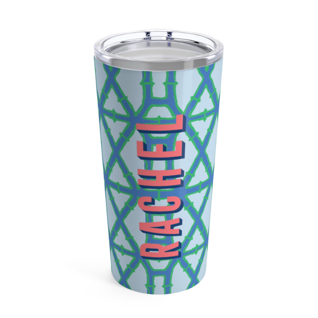 Large Bamboo Blue Tumbler