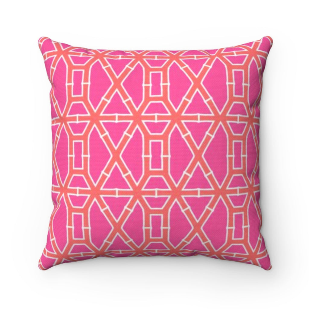 Bamboo Pink/Orange Outdoor Pillow