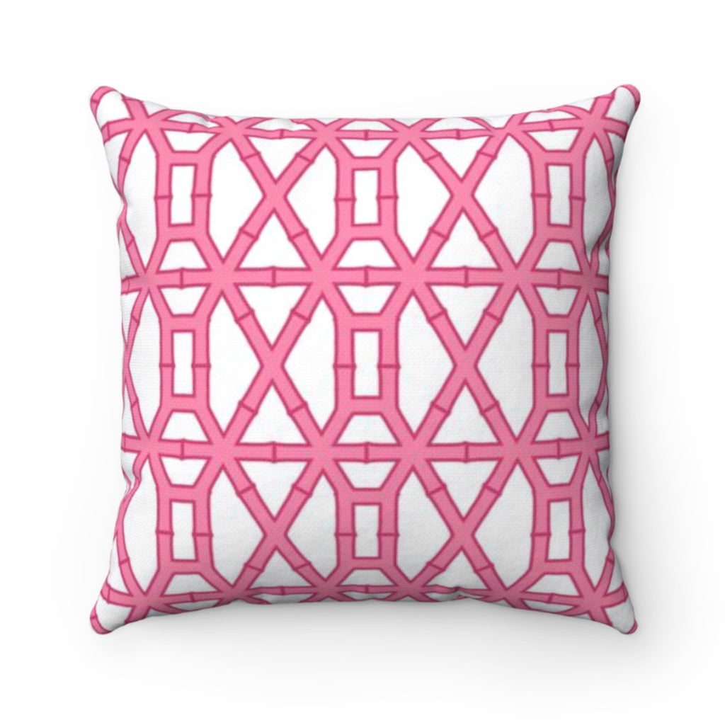 Bamboo Pink/White Pillow Cover