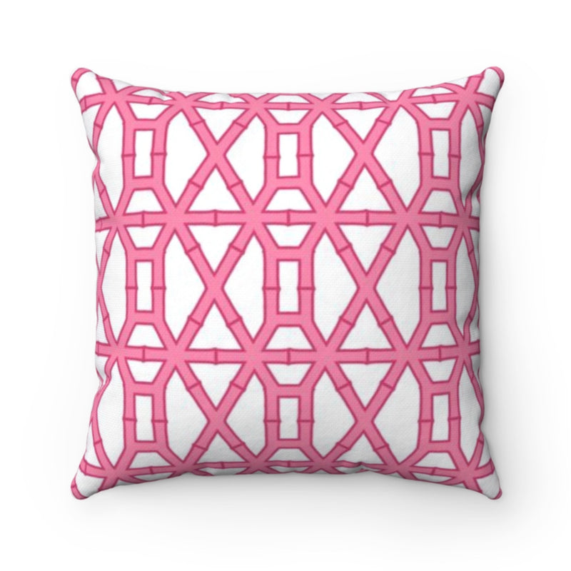 Bamboo Pink/White Outdoor Pillow