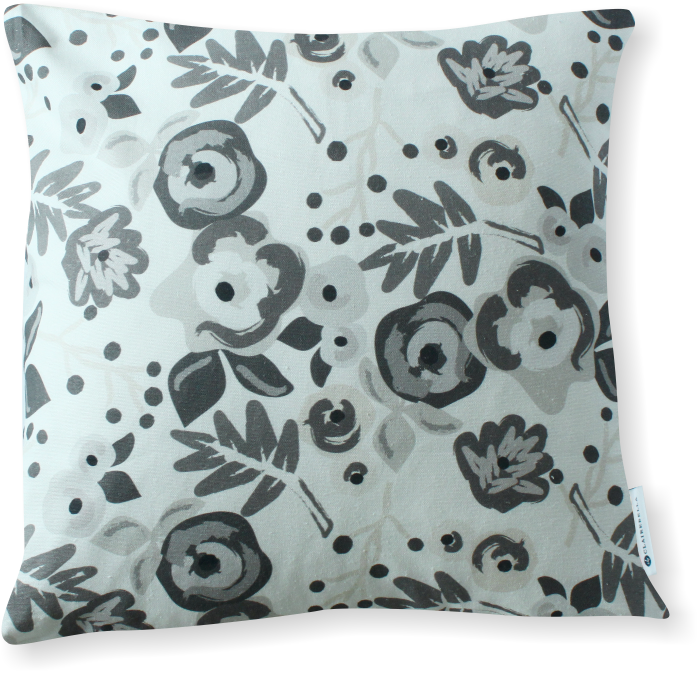 Luxe Bloom Charcoal Pillow Cover