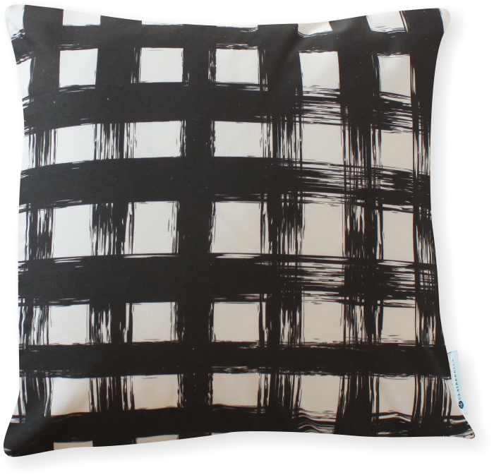 Brush Plaid Black Pillow Cover