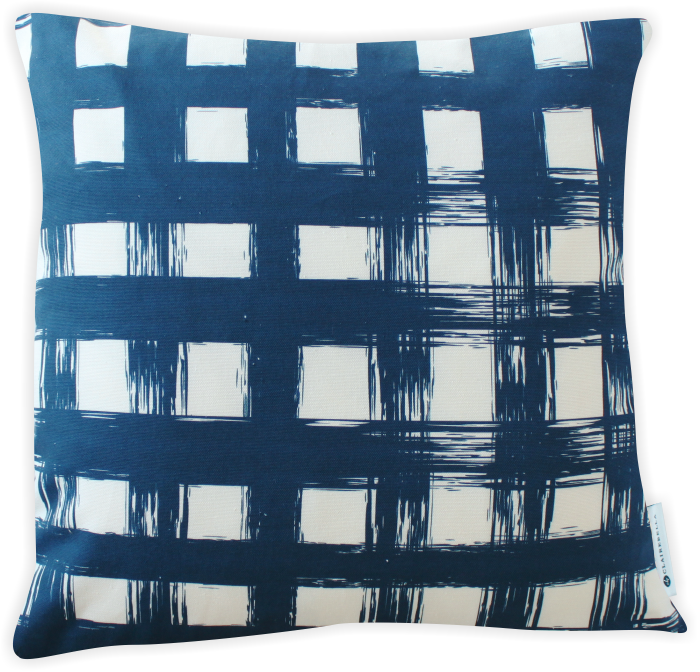 Brush Plaid Navy Pillow Cover