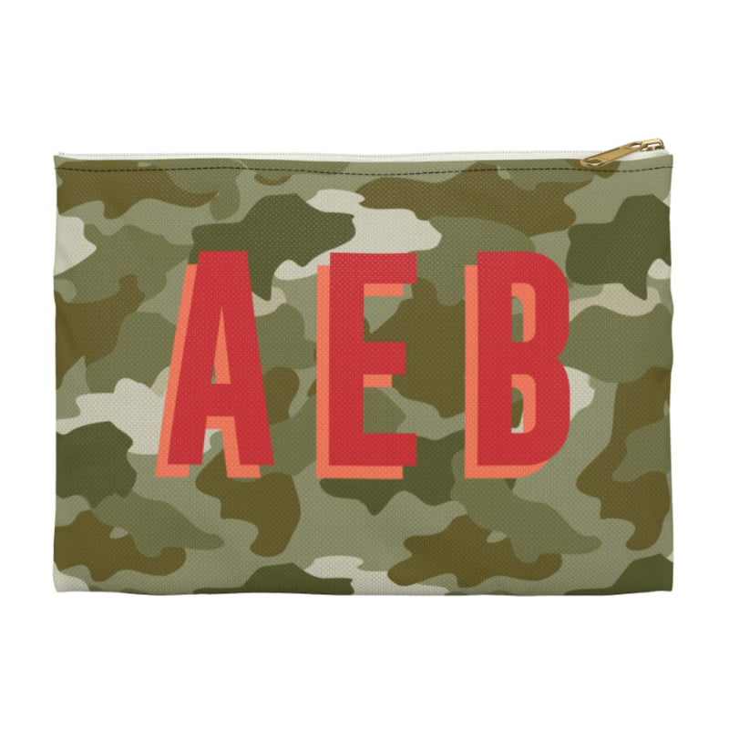 Camo Green Small  Zippered Clutch