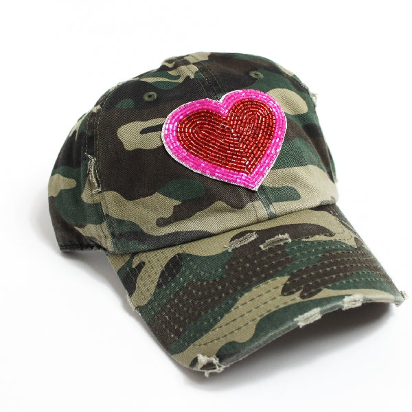 Heart Beaded Ball Cap