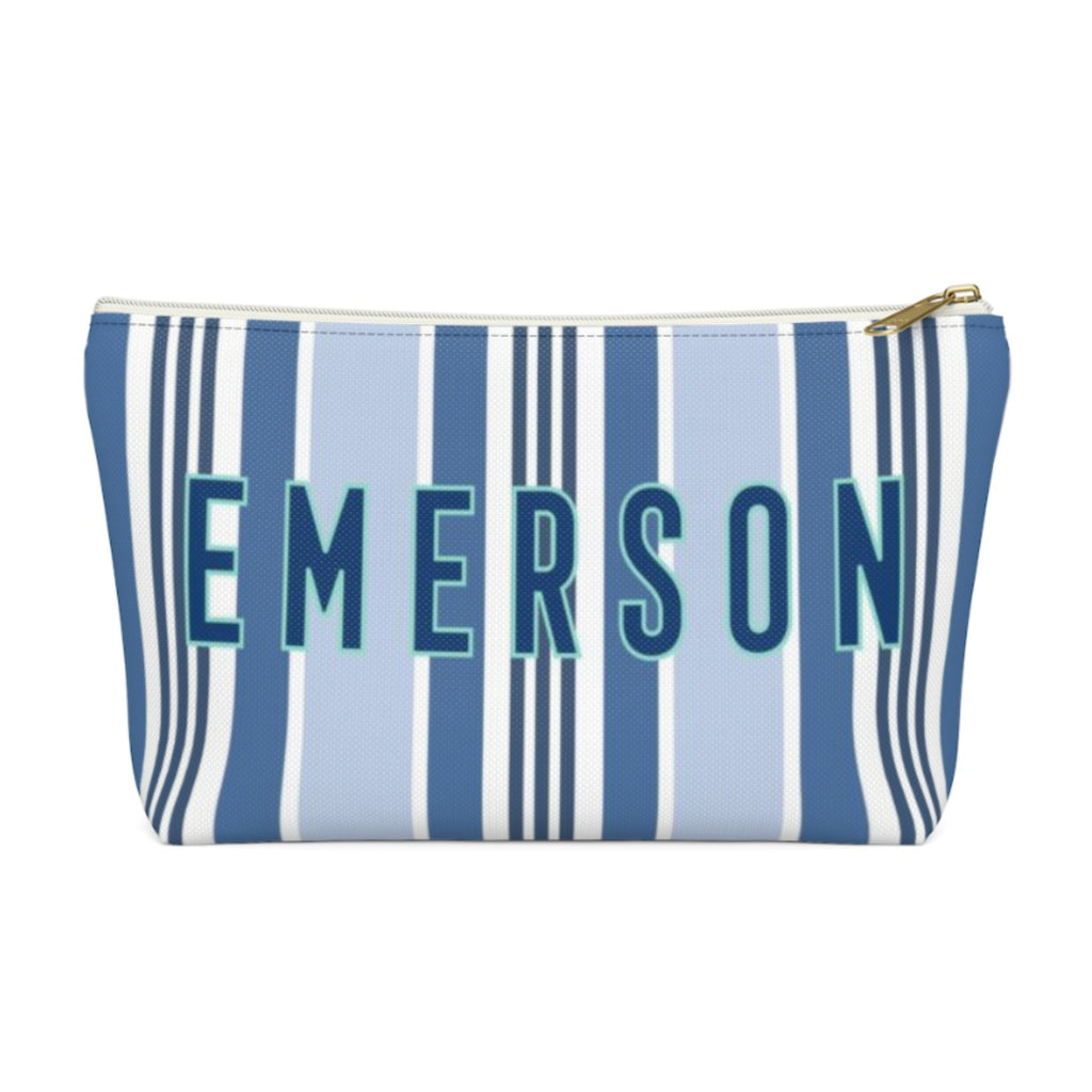 Capri Stripe Large Zippered Pouch