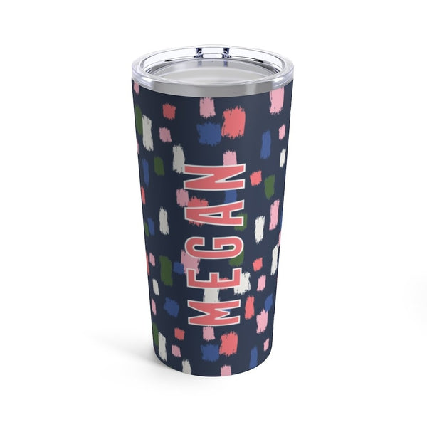 Come On Get Happy, Confetti Navy Tumbler