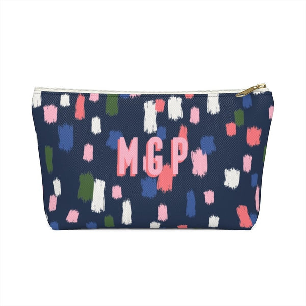 Come On Get Happy, Confetti Navy Large Zippered Pouch