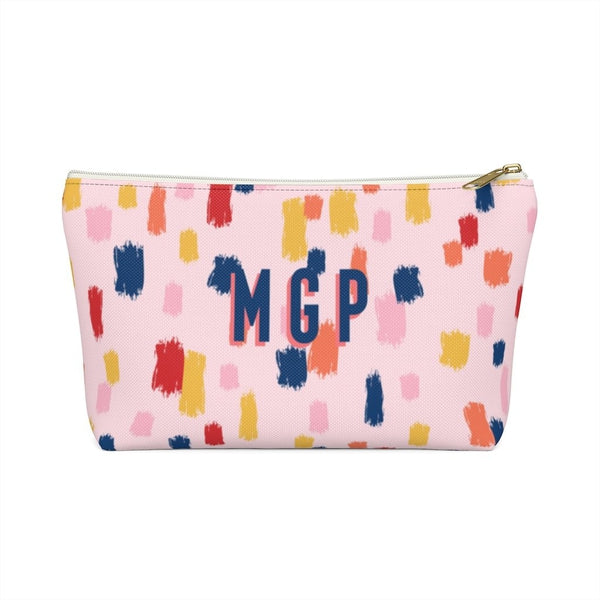 Come On Get Happy, Confetti Pink Large Zippered Pouch