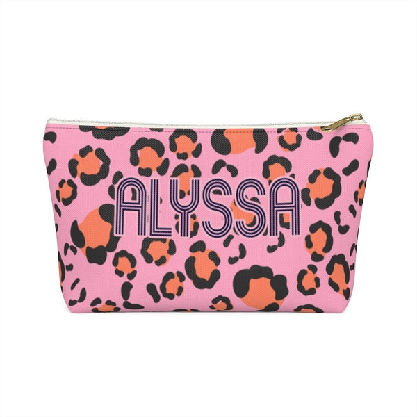 Anything But Ordinary Leopard Pink Large Zippered Pouch