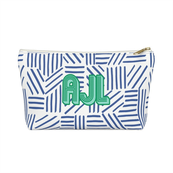Mod About You Stripes Blue Large Zippered Pouch