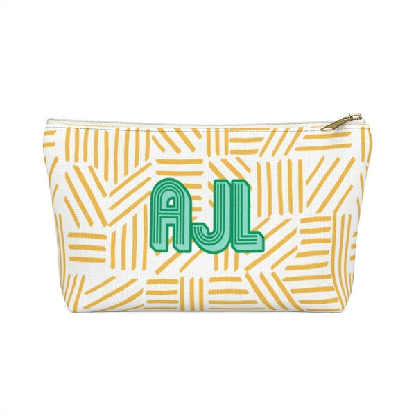 Mod About You Stripes Yellow Large Zippered Pouch