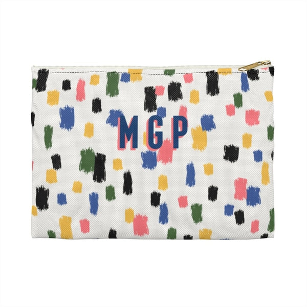 Come On Get Happy, Confetti Ivory Large Zippered Clutch