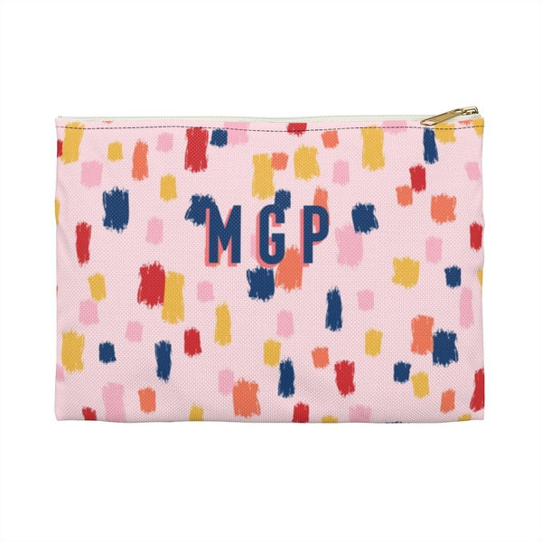 Come On Get Happy, Confetti Pink Large Zippered Clutch