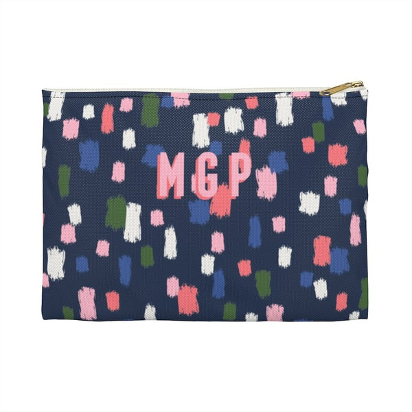 Come On Get Happy, Confetti Navy Large Zippered Clutch