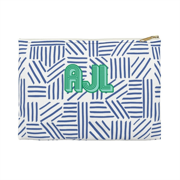 Mod About You Stripes Blue Large Zippered Clutch