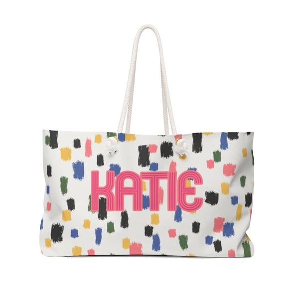 Come On Get Happy Confetti Ivory Travel Tote
