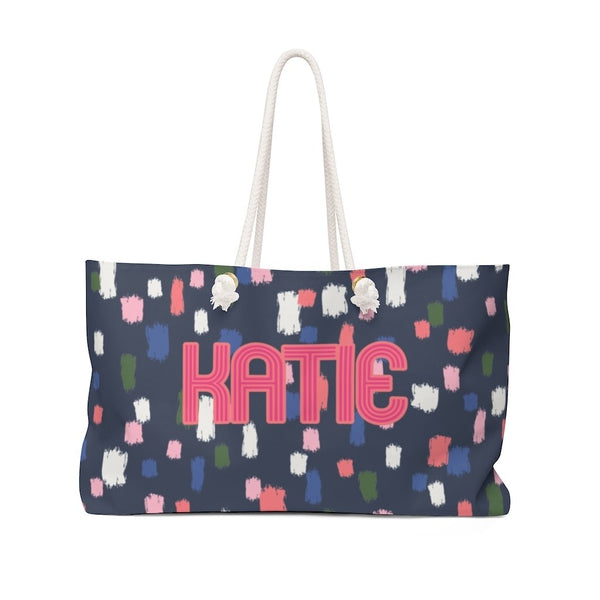 Come On Get Happy Confetti Navy Travel Tote