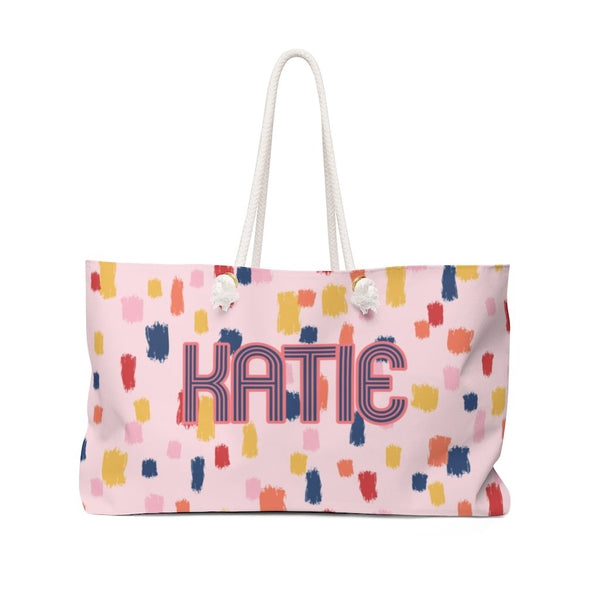 Come On Get Happy Confetti Pink Travel Tote