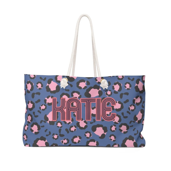 Anything But Ordinary Leopard Blue Travel Tote